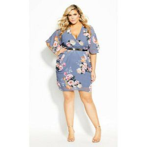 City Chic Florence Floral Wrap Belted Dress  Plus